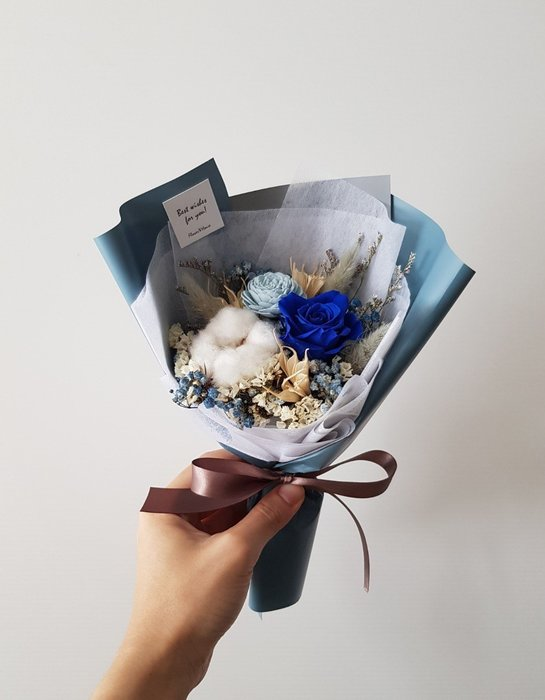 深藍玫瑰永生+乾燥花迷你小花束│乾燥花束│台北歡迎自取西門1號出口【Flower&House花藝之家】