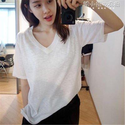 ZIHOPE 竹節棉短袖女T恤V領簡約寬鬆純棉白色體恤韓國打底衫ZI812