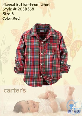 【BABY HOUSE】Carter s紅綠格(男)襯衫 US:4號『Flannel Button Shirt』