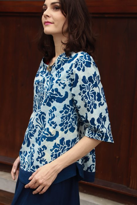 !!中國藍Anewei客家藍染白牡丹圓領上衣/長衫~SM~另有多款花色