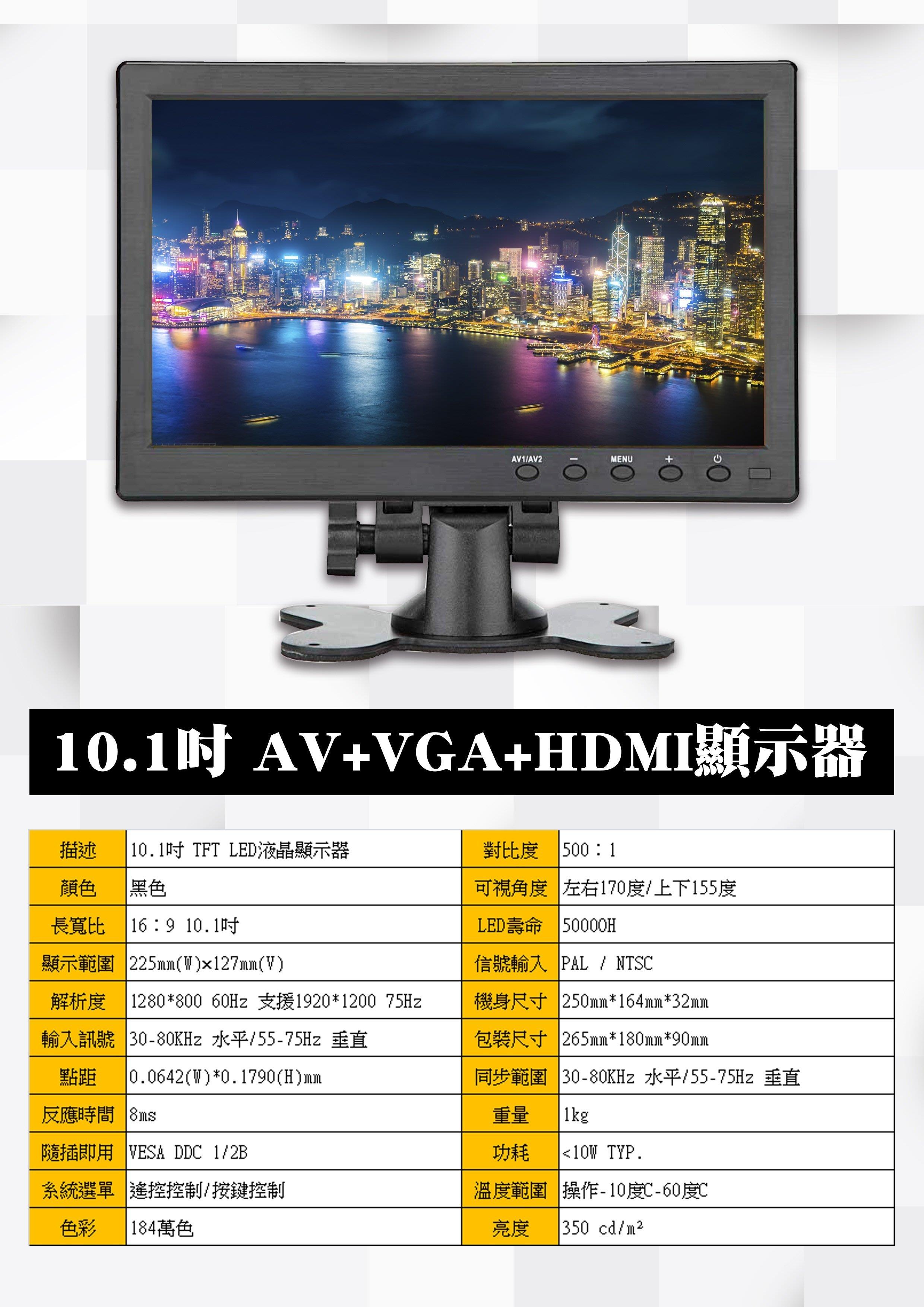 10.1 吋 1280*800 IPS PC AV VGA TFT 12V 24V 顯示器 小螢幕 小電視 播放器