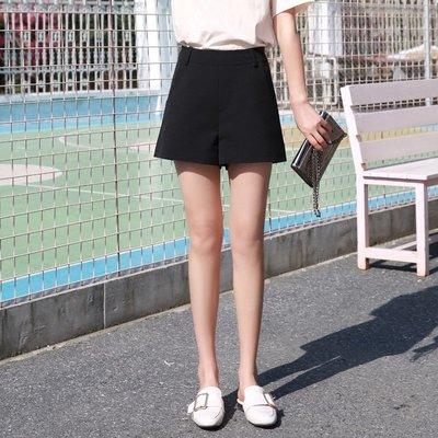 黑色短褲女夏高腰2018新款 百搭闊腿褲寬松休閑熱褲a字西裝褲