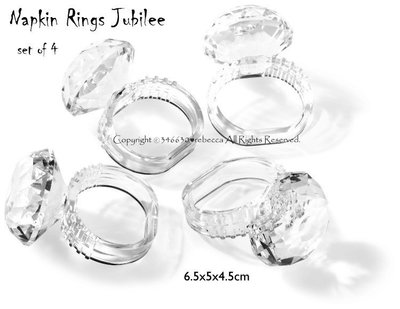 899- Napkin Rings Jubilee 晶瑩剔透 人造金剛石 鑽石 餐巾環【餐巾環-1組4入】