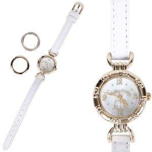 41+ 現貨不必等 正版授權 凱蒂貓 皮革錶帶碗錶手錶《白》可換錶框4901610838341  my4165