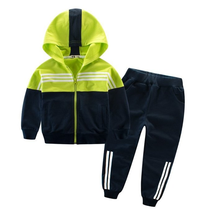 春款 童裝 新款 兒童  套裝運動褲純棉拼色中大童兩件套男童外套