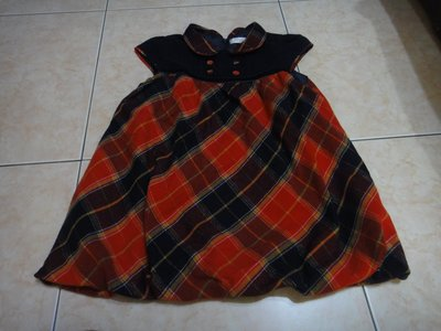 芳嘉二手小鋪~秋冬~安妮公主紅色格子短袖長版上衣~150