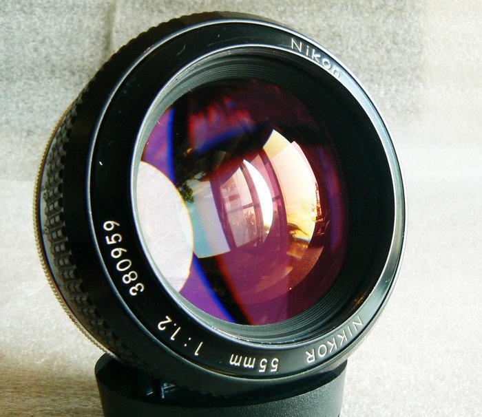 【悠悠山河】收藏級 夜之眼 酒紅膜 Nikon Nikkor 55mm F1.2 K版最佳鍍膜 鏡片透亮無刮無霉無霧無塵