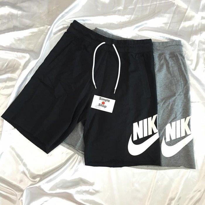 【Simple Shop】NIKE LOGO 短棉褲 運動短褲 不修邊 NIKE短褲 836278 AR2376-010