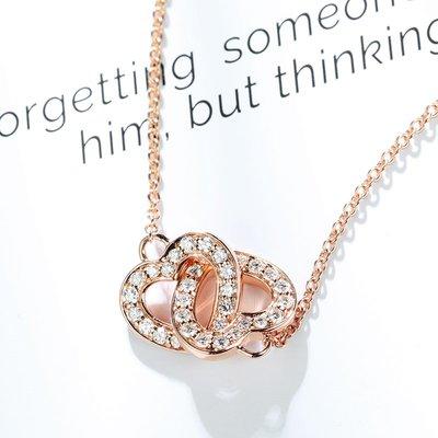 【馬格斯珠寶】18k 極美設計款 無限愛心鑽石項鍊 無限愛心鑽石墜子 大方極美完美流線型 淨亮豪華鑽石 設計款 230