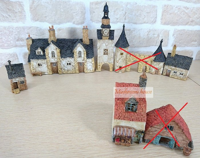 點點蘑菇屋 經典復古歐洲房屋擺飾組(5個一組賣) 歐式房子 建築物 歐風場景 家飾品 鄉村風 田園風 現貨