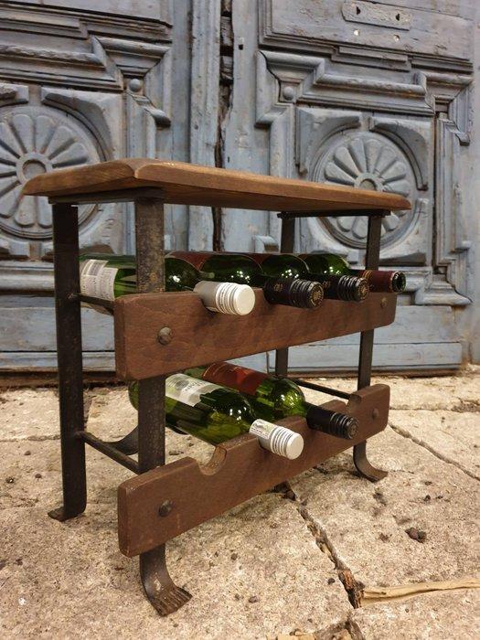 【卡卡頌 歐洲古董】西班牙老件 漂亮木紋 老橡木  手工鍛鐵  紅酒架  酒架 (很紮實 可當板凳)ss0615 ✬