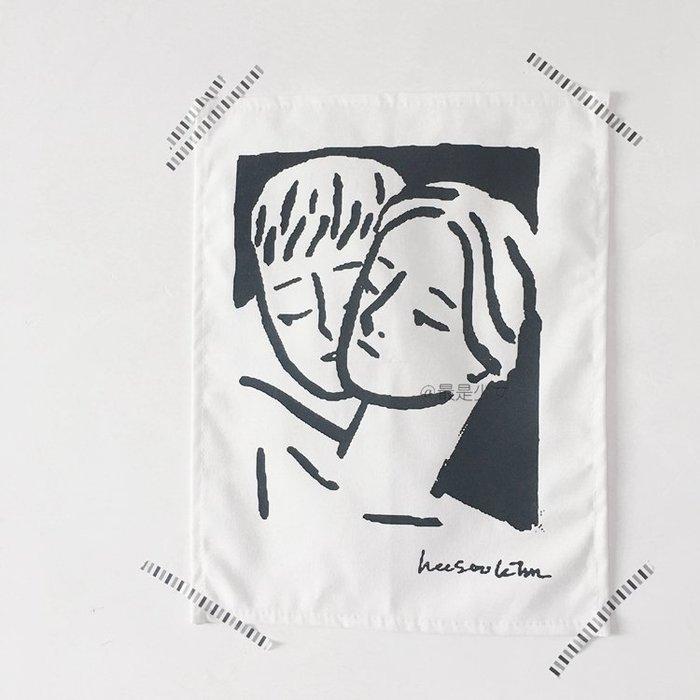 極簡INS掛布掛畫 工作室裝飾幾何人臉掛布北歐風格桌布壁飾掛畫ATF