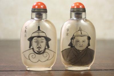悅年堂 --- 玻璃 內畫 元代皇帝 元惠宗 元寧宗 畫像 鼻煙壺 兩個