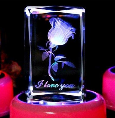 【優上精品】水晶內雕玫瑰花 生日禮物 紀念日禮物 情人節禮物 八音樂盒(Z-P3265)