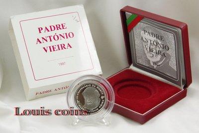 【Louis Coins】F027‧Portugal‧1997葡萄牙‧安東尼奧‧維埃拉神父逝世300周年紀念精鑄銀幣