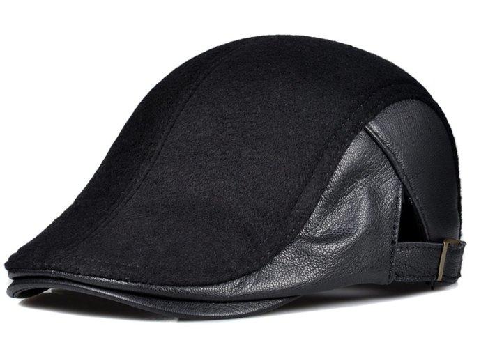 ~皮皮創~原創設計手作小羊皮拼接毛呢小偷帽子。真皮鴨舌帽 英倫風復古時尚百搭雅痞帽