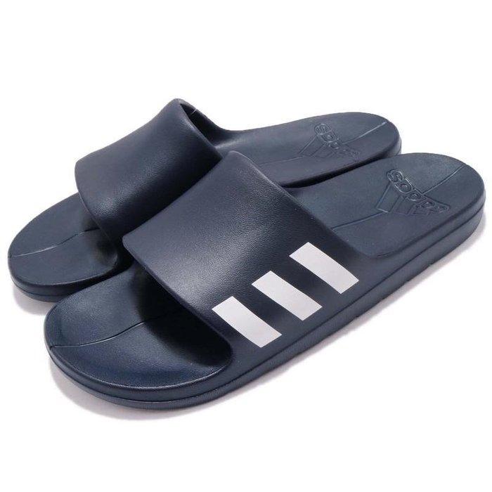 【AIRWINGS】ADIDAS CG3537 男性深藍色基本款LOGO拖鞋