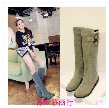 【易生發商行】日韓最IN 女靴 秋冬長筒平跟長靴高筒靴騎士馬丁靴平底女靴F6001