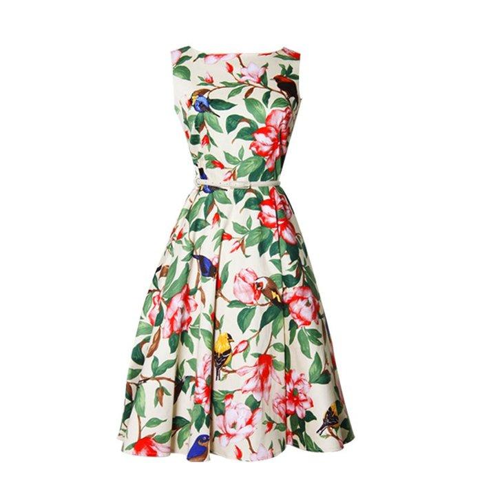 一字領洋裝正韓版自制復古女裝 赫本無袖連衣裙vintage牡丹印花一字領喇叭裙中長裙8-29