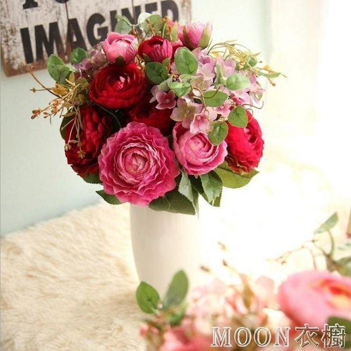 麥麥部落 歐式仿真玫瑰花束家居客廳臥室裝飾花擺件假花絹花插花繡球花MB9D8