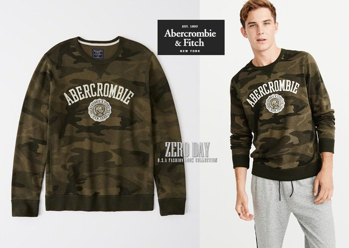 零時差美國時尚網A&F真品Abercrombie&Fitch Graphic Logo Sweatshirt迷彩大學T綠