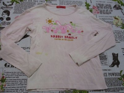 二手童裝出清--粉色小兔長袖上衣--BOSSINI KIDS