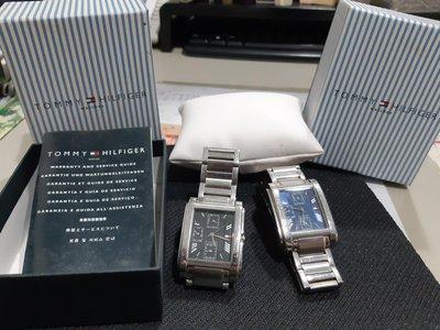 TOMMY/HILFIGER 男女對錶,約7成新,三眼石英錶。