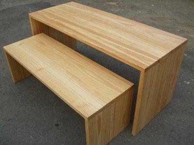A034 {崙頂傳統原木家具行}~杉木ㄇ字型桌 配小桌  接受訂作 訂色~需訂做 歡迎單買