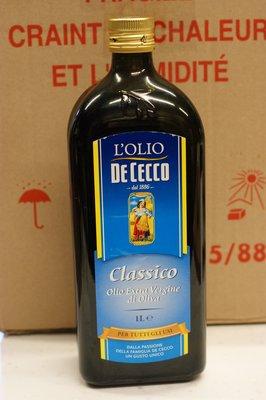 義大利 得科特級橄欖油 DE CECCO EXTRA VIRGIN OLIVE OIL 1公升