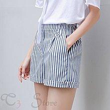 【T3】條紋短褲 藍白線 顯瘦 學院風 寬鬆 百搭 休閒 韓版 時尚 闊腿褲【GM10】