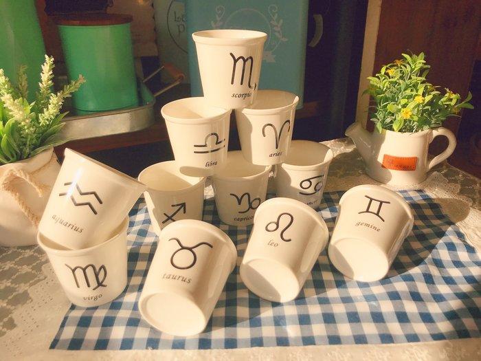 ~誠萍~鄉村風 創意文青 12星座陶瓷杯 水杯 茶杯 點心杯 甜品杯 多肉植物盆栽 直購價$35 (一個)