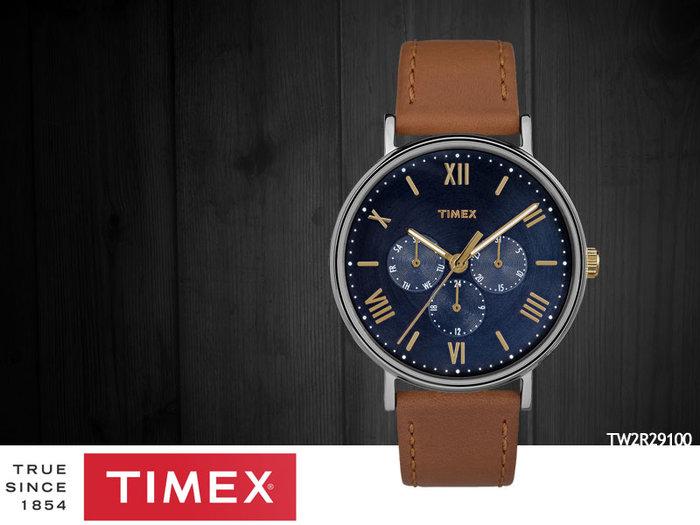 【時間道 】TIMEX天美時 大錶徑羅馬刻度三眼腕錶–藍面淺咖啡皮(TW2R29100)免運費