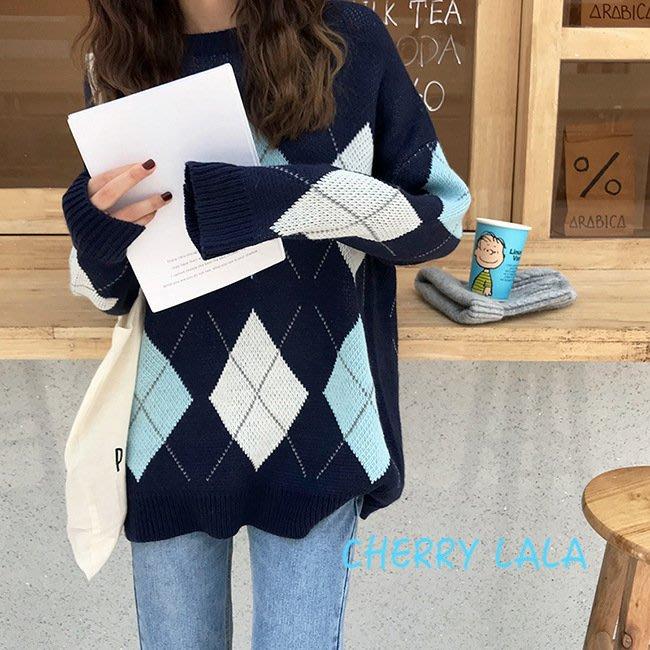 CHERRY LALA  韓。實拍。18秋。撞色菱形图案长袖针织毛衣女装-(黑現貨)/藍/咖啡 M7810
