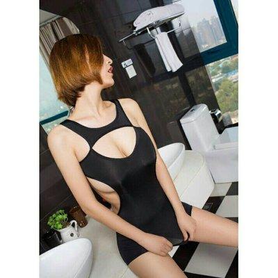 1542 黑色 爆乳情趣泳衣系列 挖胸露背鏤空濕身泳裝 彈力連身裙 性感秘書 誘惑情趣內衣