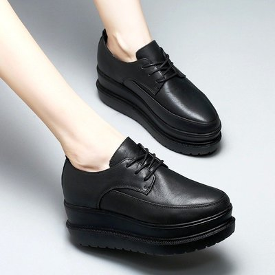 『Alice♥愛麗絲』英倫松糕鞋女厚底春秋季新款真皮女鞋百搭黑色小皮鞋坡跟單鞋