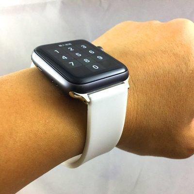 Apple Watch 代用錶帶 矽膠 素面 等寬 排汗透氣設計 運動 穿戴 ㊣ 純潔白 38mm 42mm 台北市