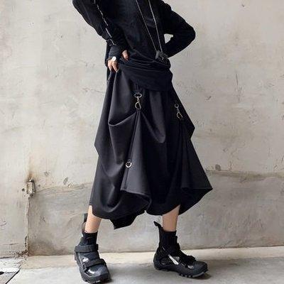 【黑店】訂製款暗黑系鎖扣不規則黑色長裙 暗黑系穿搭個性長裙 性冷淡風層次長裙 不規則黑色鎖扣長裙 AK116