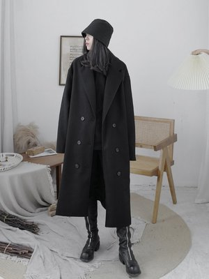 Dark.Q MI 暗黑顯瘦腰帶呢子長大衣外套