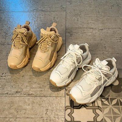 跑步鞋女夏2020新款韓版老爹鞋網紅學生厚底透氣百搭休閑運動鞋潮