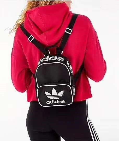 現貨 愛迪達 adidas santiago Mini 三葉草 三線 三槓 迷你後背包 黑色 粉紅色 運動尼龍小包/澤米