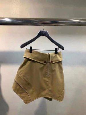 PapaDarling 20SS 歐美時尚潮流帥氣不規則腰帶拉鍊短裙 a字裙