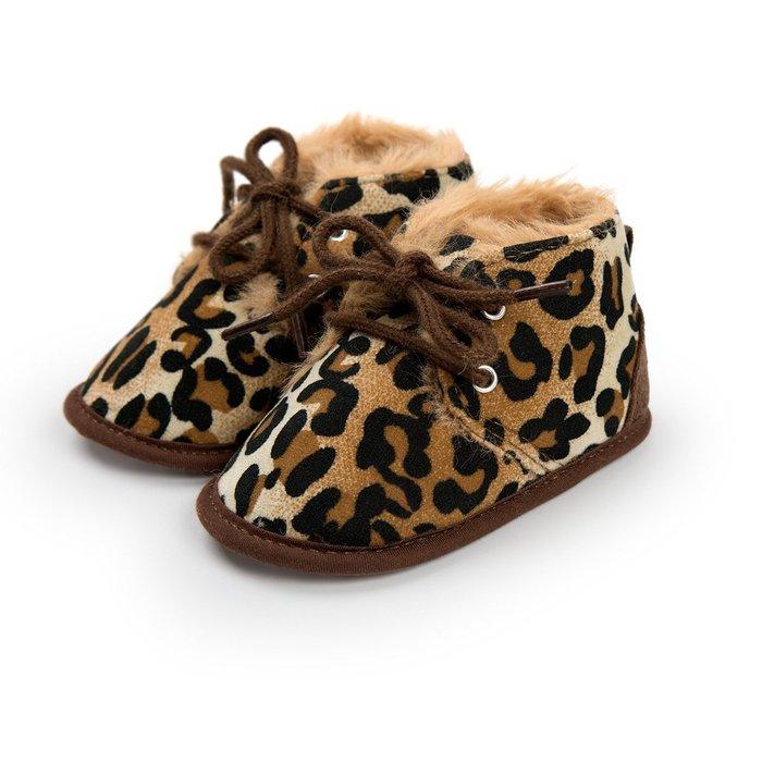森林寶貝屋~豹紋休閒保暖鞋~學步鞋~幼兒鞋~寶寶鞋~嬰兒鞋~學走鞋~童鞋~綁帶設計~保暖舒適~彌月贈禮~特價135元
