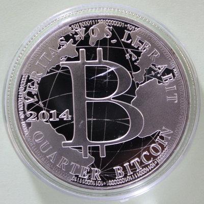 比特幣紀念章1枚。---(合金鍍銀-紀念章不是金幣不是銀幣)