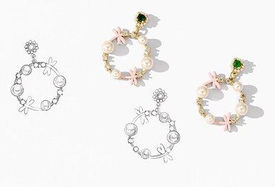 ◎美國代買◎韓風代購珍珠綠寶石搭配水鑽粉蜻蜓圓形水鑽寶石吊飾垂飾耳針耳環~歐美街風~大尺碼