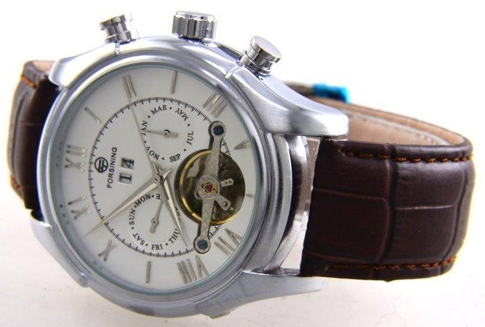 (六四三精品)超大粗礦圓型錶徑4.3公分.三眼五針.星期.日期.月份似陀飛複雜功能自動上鍊機械錶!銀色錶殼