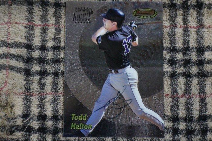 Todd Helton 1998 Bowmans Best 洛磯山神準名人堂 生涯3/4/5強打 早期高比例親筆簽名卡