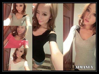 【AIMANUY-艾曼妞服飾】【25現貨+預購】韓版性感露肩一字領蕾絲吊帶緊身休閑短袖T恤F65