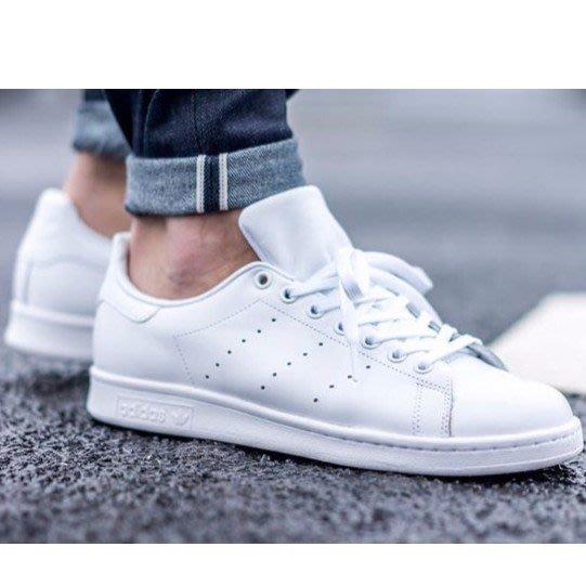 【老夫子】Adidas Originals Stan Smith 史密斯 真皮 全白 皮革 經典 白尾 男女