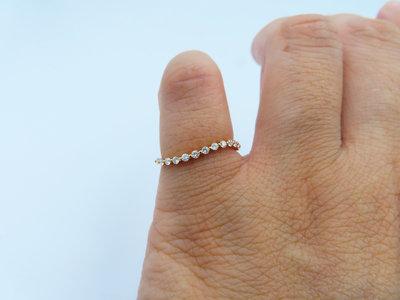 %玉承珠寶%輕珠寶系列14k玫瑰金精緻天然鑽石S優雅弧線戒/尾戒DR2(現貨1)