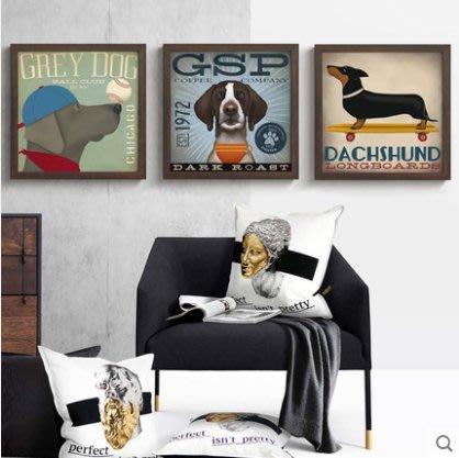 『格倫雅』好朋友 美式風格裝飾畫復古臥室床頭掛畫墻畫動物狗壁畫兒童房^21745